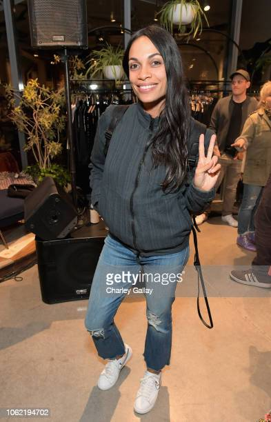 Rosario Dawson attends the NEVEREVEN Launch at Fred Segal Sunset on November 15 2018 in Los Angeles California