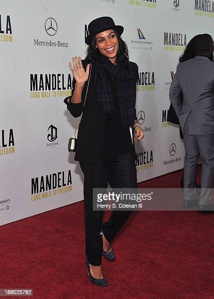 """Rosario Dawson attends the New York premiere of """"Mandela: Long Walk to Freedom"""" hosted by The Weinstein Company, Yucaipa Films & Videovision..."""