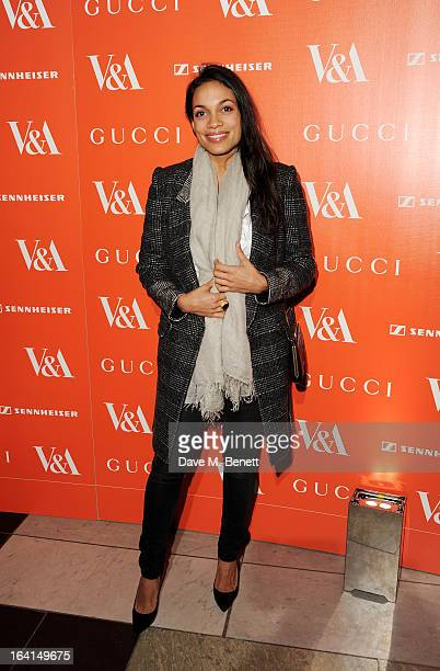 Rosario Dawson attends the private view for the 'David Bowie Is' exhibition in partnership with Gucci and Sennheiser at the Victoria and Albert...