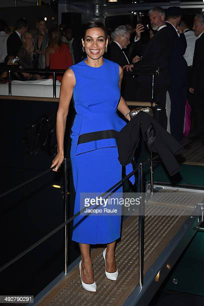 Rosario Dawson attends the 'Roberto Cavalli Annual Party Aboard' Outside Arrivals at the 67th Annual Cannes Film Festival on May 21 2014 in Cannes...