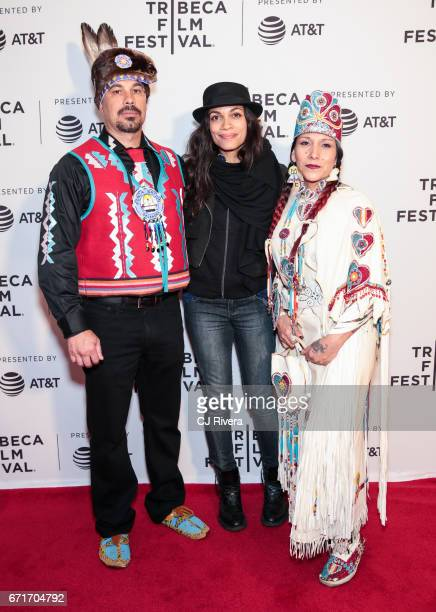 Rosario Dawson , Floris White Bull and guest attend the 2017 Tribeca Film Festival 'Awake: A Dream From Standing Rock' at Cinepolis Chelsea on April...