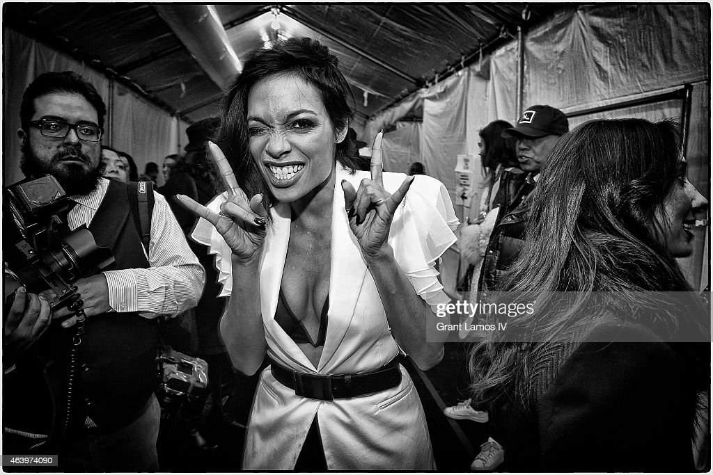 Rosario Dawson is seen during Mercedes-Benz Fashion Week Fall 2015 at Lincoln Center for the Performing Arts on February 14, 2015 in New York City.