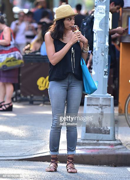 Rosario Dawson is seen in the East Village on July 8 2014 in New York City