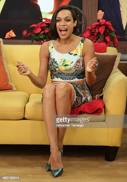 Rosario Dawson is seen on the set of Univision's Despierta America morning show at Univision Headquarters on December 8 2014 in Miami Florida