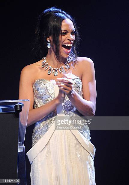 Rosario Dawson onstage at amfAR's Cinema Against AIDS Gala during the 64th Annual Cannes Film Festival at Hotel Du Cap on May 19, 2011 in Antibes,...