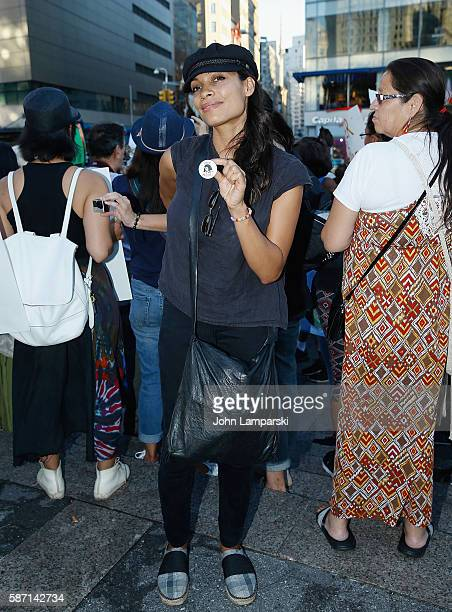 Rosario Dawson participates in the Stop The Dakota Access Pipeline protest at Union Square on August 7 2016 in New York City