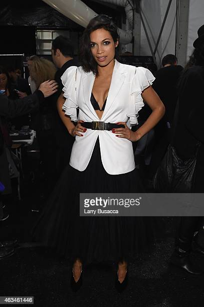 Rosario Dawson poses backstage at Naomi Campbell's Fashion For Relief Charity Fashion Show during MercedesBenz Fashion Week Fall 2015 at The Theatre...