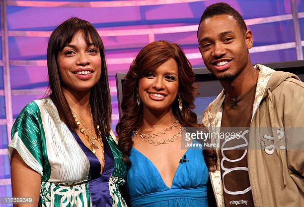 Rosario Dawson Rocsi and Terrence during Rosario Dawson and Ice Cube Visit BET's 106 Park April 2 2007 at BET Studio in New York New York United...
