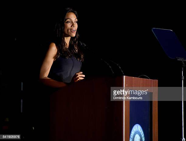 Rosario Dawson speaks as the Friars Club Honors Tony Bennett With The Entertainment Icon Award Inside at New York Sheraton Hotel Tower on June 20...