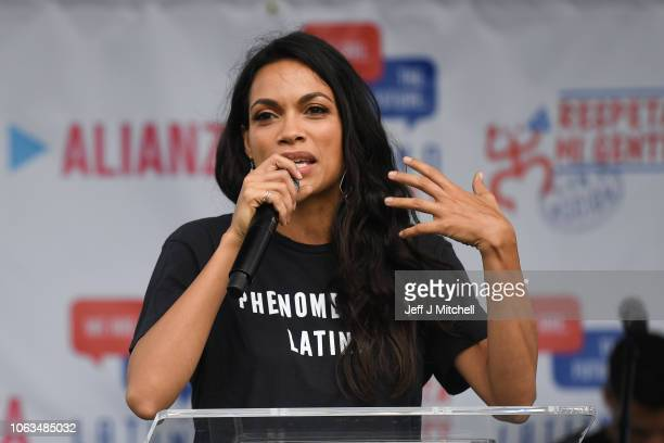 Rosario Dawson speaks during a campaign event attended by Senator Bill Nelson, at the 65th Infantry Veterans Park on November 4, 2018 in Kissimmee...