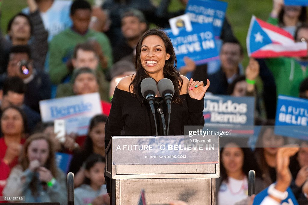 Rosario Dawson speaks onstage at a campaign event for 2016 Democratic presidential candidate U.S. Senator Bernie Sanders (D-VT) at Saint Mary's Park on March 31, 2016 in New York City.