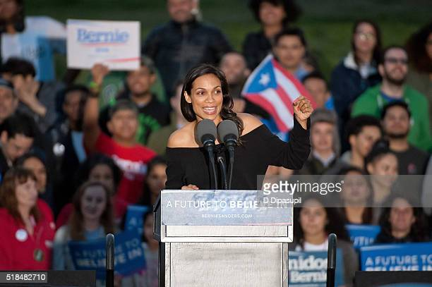 Rosario Dawson speaks onstage at a campaign event for 2016 Democratic presidential candidate US Senator Bernie Sanders at Saint Mary's Park on March...