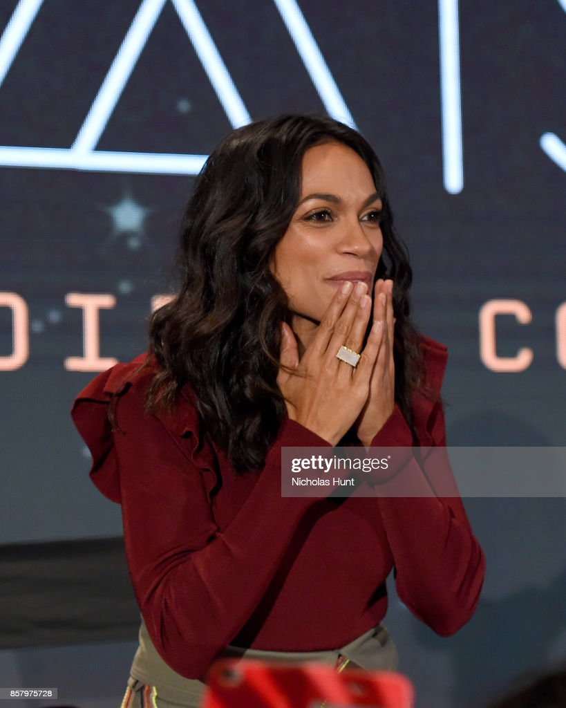 Rosario Dawson speaks onstage during the Artemis panel at the 2017 New York Comic Con - Day 1 on October 5, 2017 in New York City.