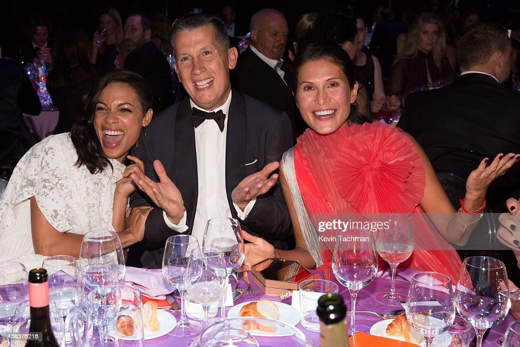Rosario Dawson, Stefano Tonchi and Goga Ashkenazi attend the amfAR Milano 2014 - Gala Dinner and Auction as part of Milan Fashion Week Womenswear Spring/Summer 2015 on September 20, 2014 in Milan, Italy.