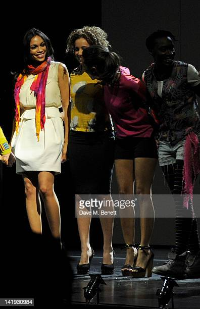 Rosario Dawson, Stephanie Siadatan, Thandie Newton and Ony Uhiara bow at the curtain call during a performance of 'A Memory, A Monologue, A Rant And...