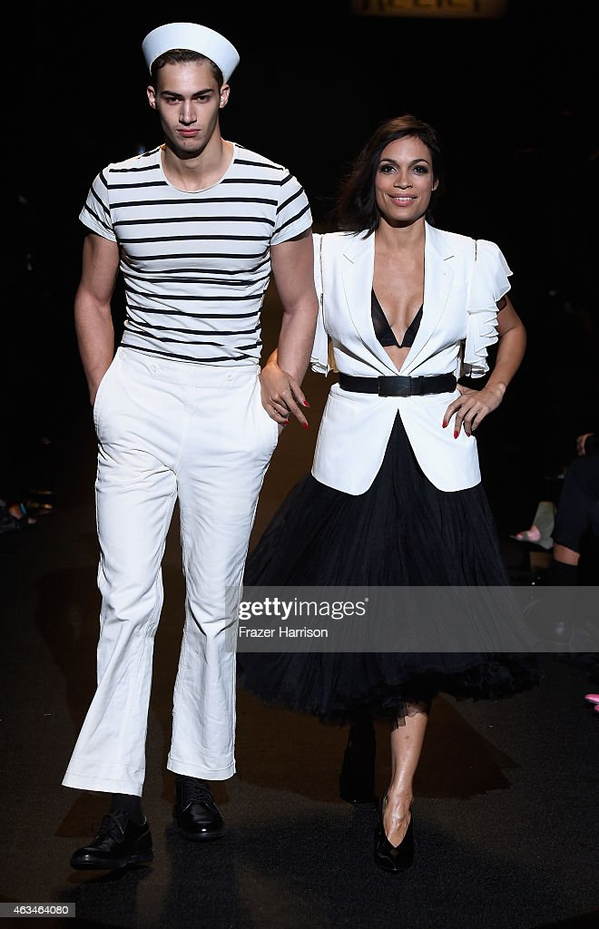 Rosario Dawson (R) walks the runway at Naomi Campbell's Fashion For Relief Charity Fashion Show during Mercedes-Benz Fashion Week Fall 2015 at The Theatre at Lincoln Center on February 14, 2015 in New York City.