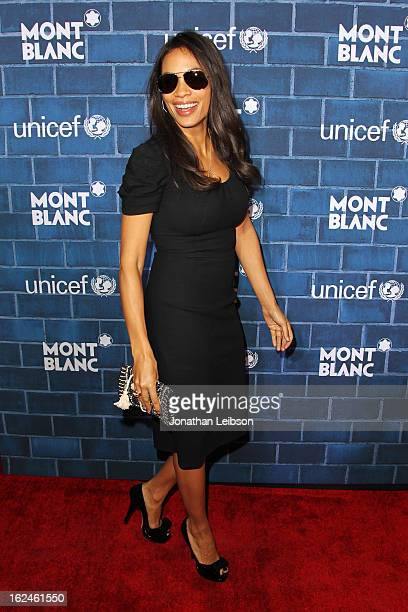 Rosario Dawson wearing Montblanc Star 4810 in Yellow Gold attends a PreOscar charity brunch hosted by Montblanc and UNICEF to celebrate the launch of...