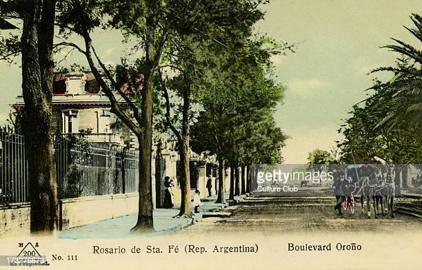Rosario de Sta Fé Boulevard Orono Argentina Early 20th century postcard
