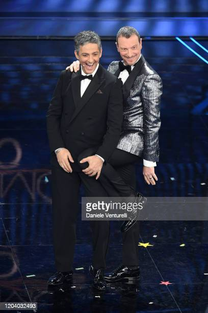 Rosario Fiorello and Amadeus attend the 70° Festival di Sanremo at Teatro Ariston on February 04 2020 in Sanremo Italy