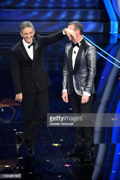 Rosario Fiorello and Amadeus attend the 70° Festival di Sanremo at Teatro Ariston on February 04 2020 in Sanremo Italy