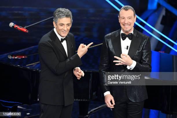 Rosario Fiorello and Amadeus attend the 70° Festival di Sanremo at Teatro Ariston on February 04, 2020 in Sanremo, Italy.