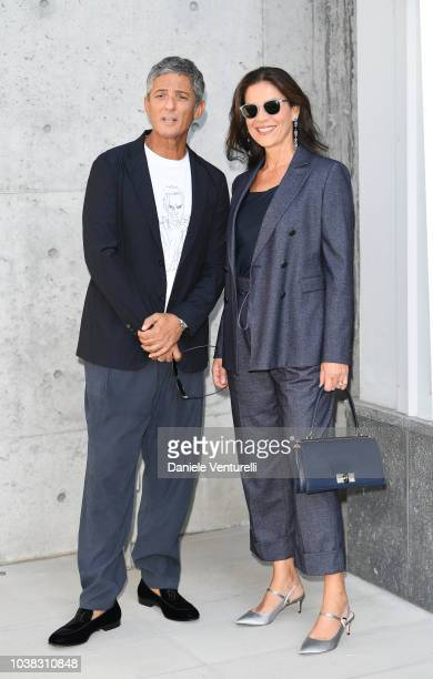Rosario Fiorello and Susanna Biondo arrive at the Giorgio Armani show during Milan Fashion Week Spring/Summer 2019 on September 23 2018 in Milan Italy