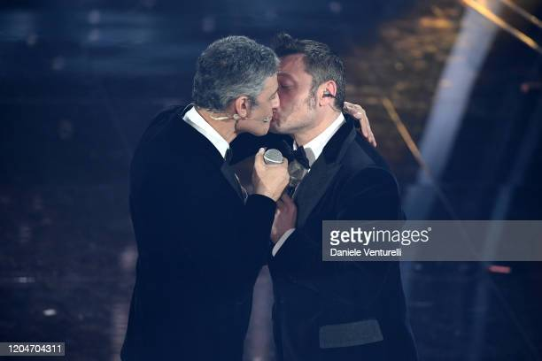 Rosario Fiorello and Tiziano Ferro attend the 70° Festival di Sanremo at Teatro Ariston on February 07 2020 in Sanremo Italy