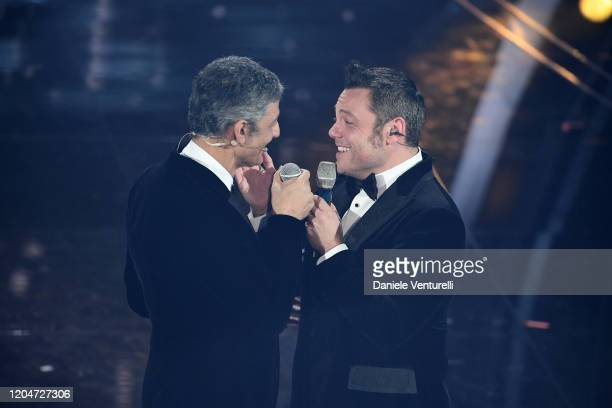 Rosario Fiorello and Tiziano Ferro attend the 70° Festival di Sanremo at Teatro Ariston on February 07, 2020 in Sanremo, Italy.