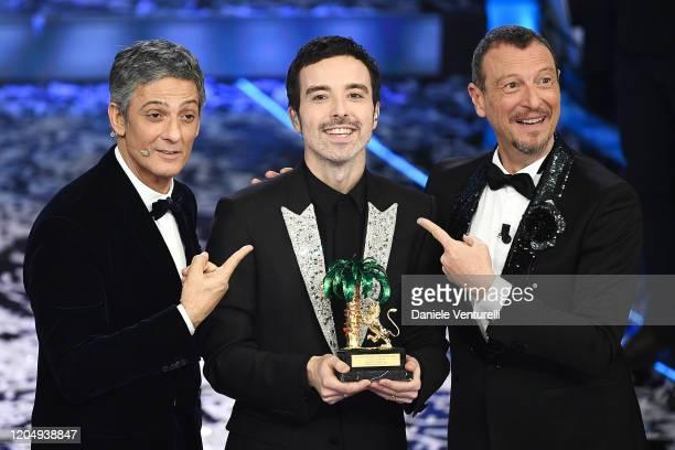 Rosario Fiorello, Diodato and Amadeus attend the 70° Festival di Sanremo at Teatro Ariston on February 08, 2020 in Sanremo, Italy.