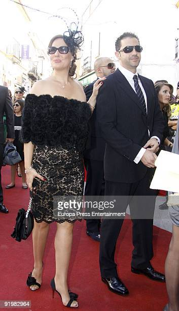 Rosario Mohedano and Andres Fernandez attend the wedding of Pastora Soler and Francis Vinolo on October 17 2009 in Seville Spain