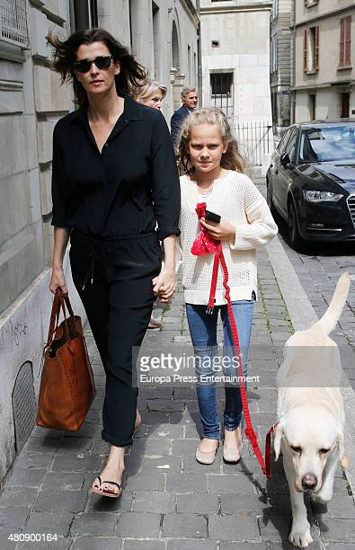 Rosario Nadal and Irene Urdanarin are seen leaving Princess Cristina's home after her 50's birthday on June 14 2015 in Geneva Switzerland