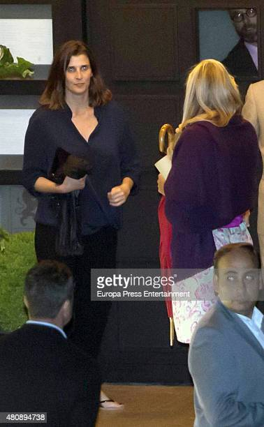 Rosario Nadal leaves restaurant after Princess Cristina's 50th Birthday celebration on June 13 2015 in Geneva Switzerland
