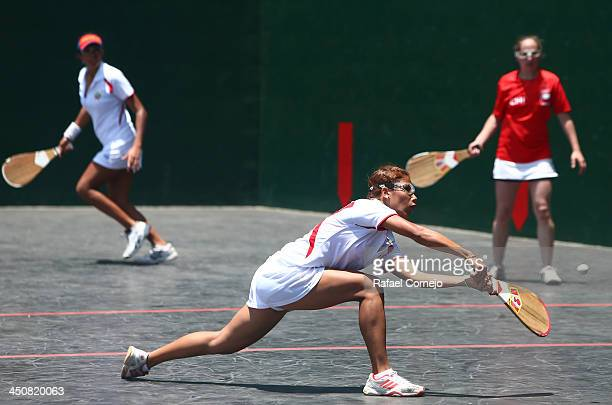 Rosario Valderrama and Zita Solas of Chile compete against Rosa Diaz and Gazigy Naim of Venezuela during the Basque Pelota qualifiers as part of the...