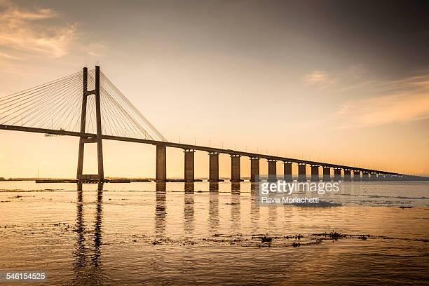 Rosario Victoria bridge at sunset