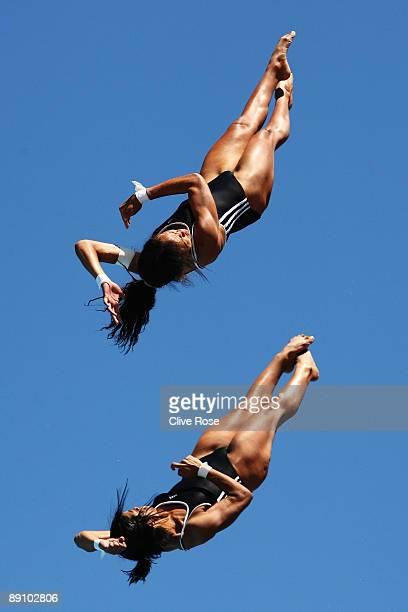 Rosario Yaima Pena Mena and Annia Robira Rivera of Cuba compete in the Women's 10m Synchro Platform at the Stadio del Nuoto on July 19 2009 in Rome...