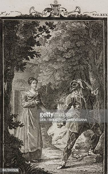 Rosaura and Harlequin in the wood engraving by Antonio Viviani from a drawing by G Steneri from The Unknown Woman Act III Scene 7 Comedies Volume 31...