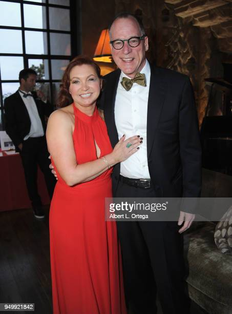 Rosch poses with guests attendng The Pawtastic Ball to benefit The Little Red Dog Inc held at Sowden House on April 21 2018 in Los Angeles California