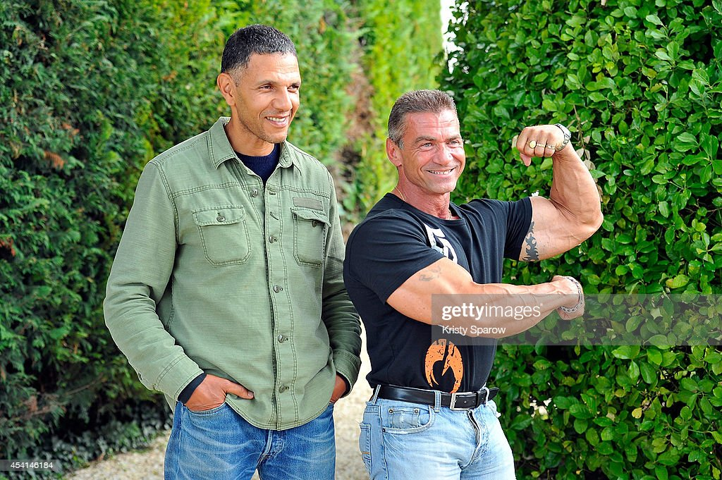 Roschdy Zem and Francois Yolin Gauvin attend the 'Bodybuilder' Photocall at Hotel Mercure during the 7th Angouleme French-Speaking Film Festival on August 25, 2014 in Angouleme, France.