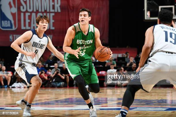 Rosco Allen of the Boston Celtics handles the ball during the game against the Dallas Mavericks during the Quarterfinals of the 2017 Las Vegas Summer...