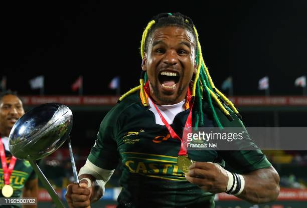 Rosco Specman of South Africa celebrates after winning the Men's Cup Final match between South Africa and New Zealand on Day Three of the HSBC World...