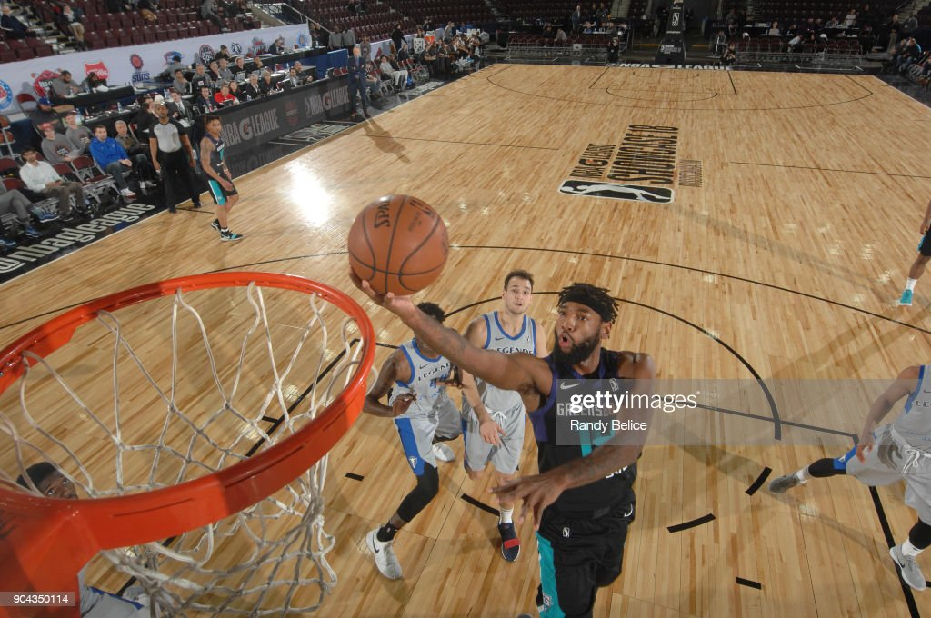 Roscoe Smith #14 of the Greensboro Swarm shoots the ball against the Texas Legends at NBA G League Showcase Game 17 on January 12, 2018 at the Hershey Centre in Mississauga, Ontario Canada.