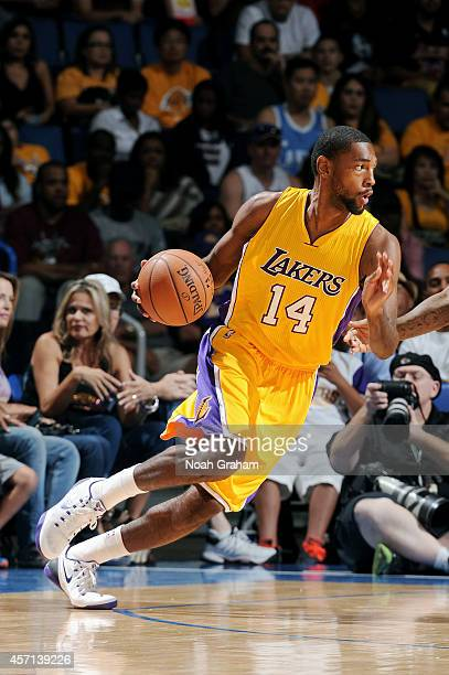 Roscoe Smith of the Los Angeles Lakers handles the ball during the game against the Golden State Warriors on October 12 2014 at Citizens Business...