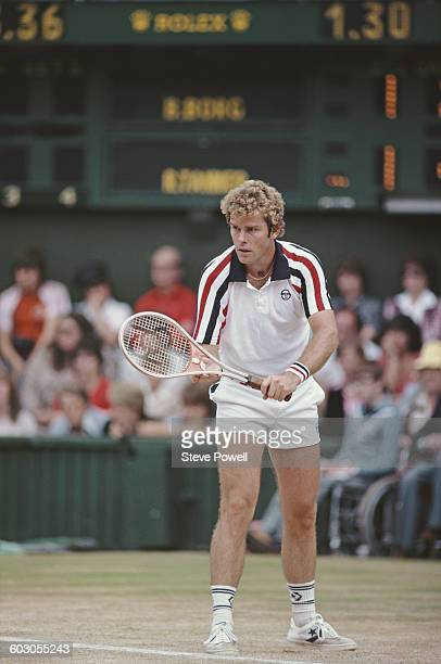 Roscoe Tanner of the United States prepares to serve against Bjorn Bjorg of Sweden during their Men's Singles Final match of the Wimbledon Lawn...
