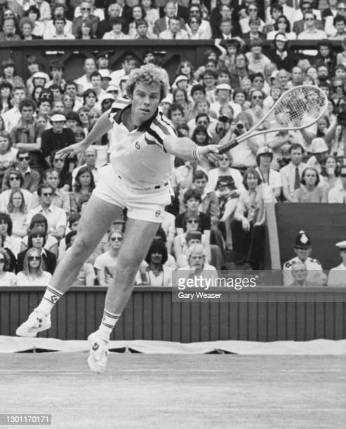 Roscoe Tanner of the United States reaching to make a forehand return against Bjorn Borg of Sweden during their Men's Singles Final match of the...