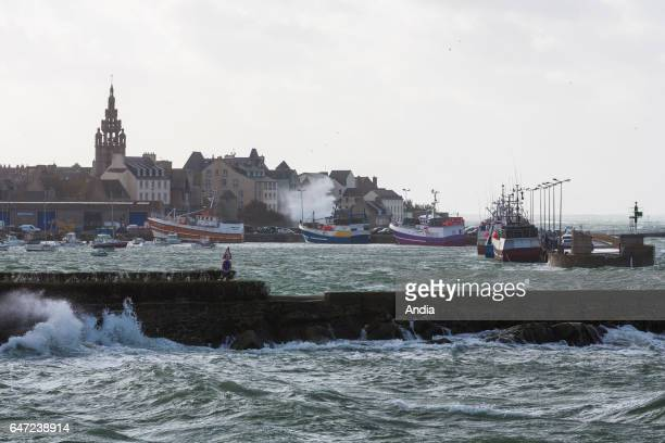 storm and violent winds on the north coast of Brittany Rough sea and view of the city