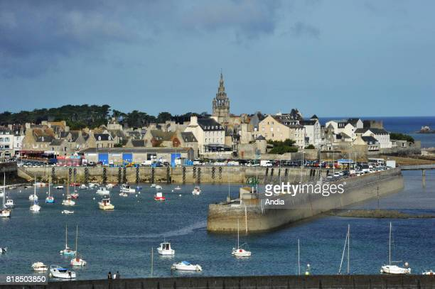 Roscoff Small city of character viewed from the chapel of SainteBarbe at low tide