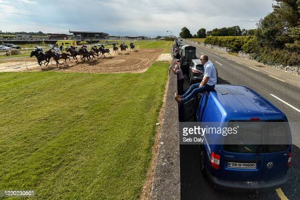 Roscommon Ireland 15 June 2020 Spectator Tom Lavin from Castlecoote Roscommon watches as the field passes during the Irish Stallion Farms EBF Median...