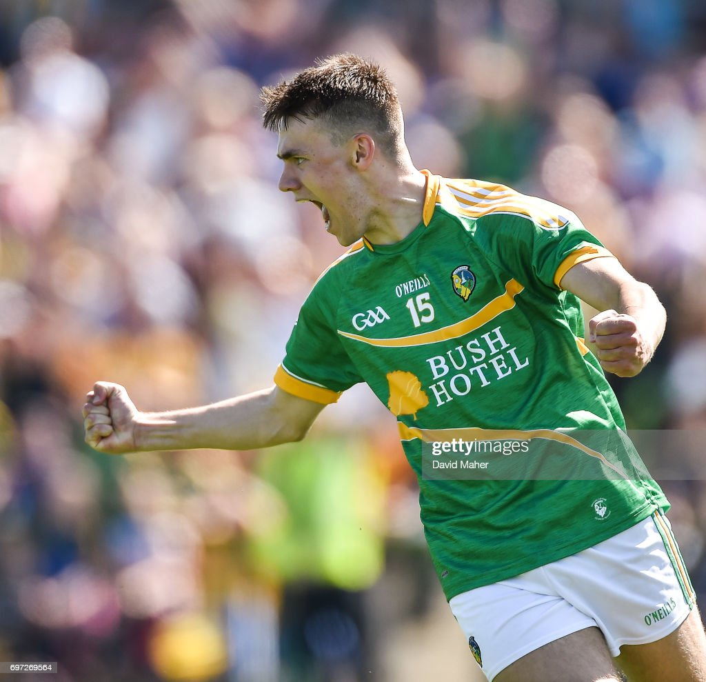Roscommon , Ireland - 18 June 2017; Darragh Rooney of Leitrim celebrates after scoring his side's first goal during the Connacht GAA Football Senior Championship Semi-Final match between Roscommon and Leitrim at Dr Hyde Park in Roscommon.