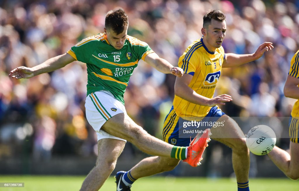 Roscommon , Ireland - 18 June 2017; Darragh Rooney of Leitrim shoots to score his side's first goal during the Connacht GAA Football Senior Championship Semi-Final match between Roscommon and Leitrim at Dr Hyde Park in Roscommon.