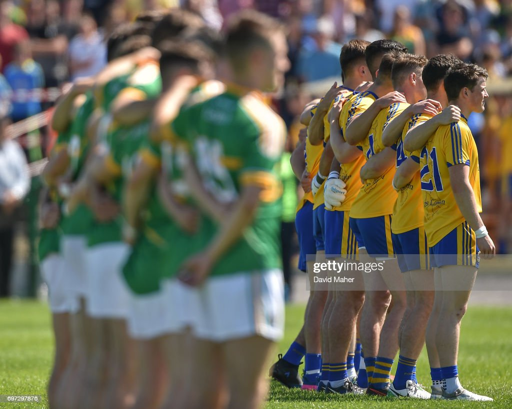 Roscommon , Ireland - 18 June 2017; The two teams of Roscommon and Leitrim line up before the start of the Connacht GAA Football Senior Championship Semi-Final match between Roscommon and Leitrim at Dr Hyde Park in Roscommon.